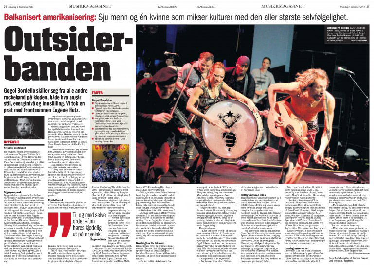 Musikkmagasinet, Klassekampen (Norwegian Daily Newspaper), 2nd December 2013