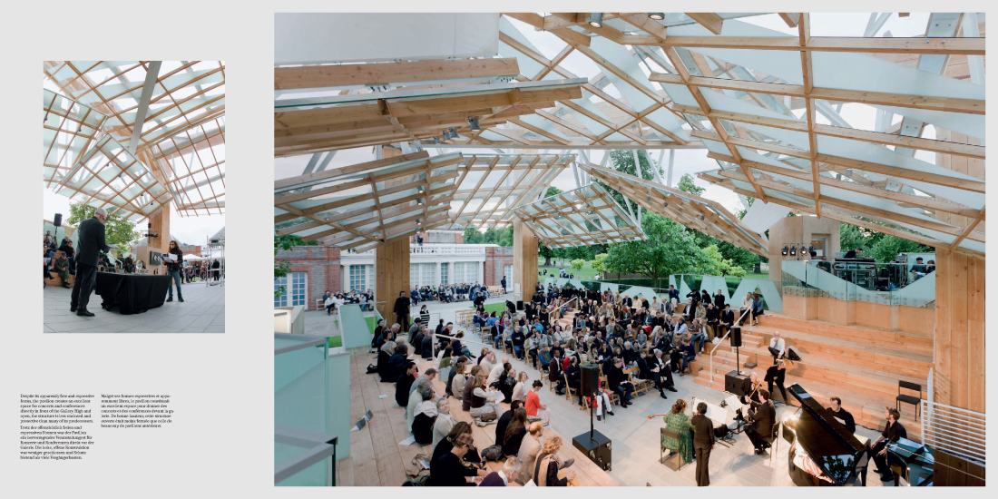 Featured photograph: Frank Gehry Pavillion during the 2008 Serpentine Gallery Manifesto Marathon (left).