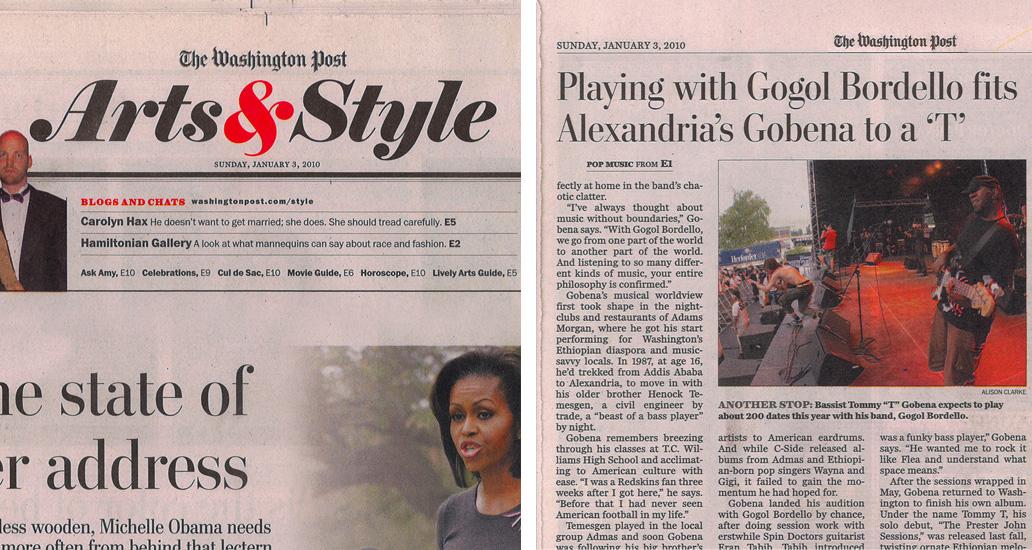 The Washington Post Arts & Style section: 3rd January, 2010. Featured photograph: Thomas Gobena, Gogol Bordello.
